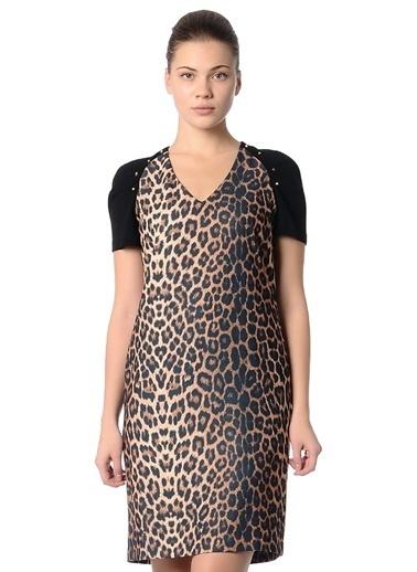 Limon Company 32Jan Leopar Desenli V Yaka Kısa Kollu Kadın Elbise Siyah
